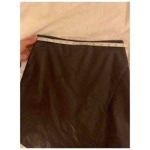Olivaceous Skirts - Olivaceous - Brown leather skirt with slit
